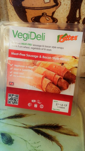 VBites Meat free bacon and sausage style wraps.